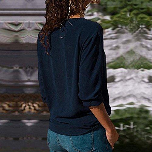 Riou Giacca Top da Donna Casuale Collo a Risvolto Maglietta