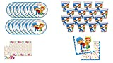 ALMACENESADAN 0462, Disposable Pack Party and Birthday Pocoyo and Nina, 16 Glasses, 16 Dishes 23 cm, 20 napkins and 1 Tablecloth 120x180 cms