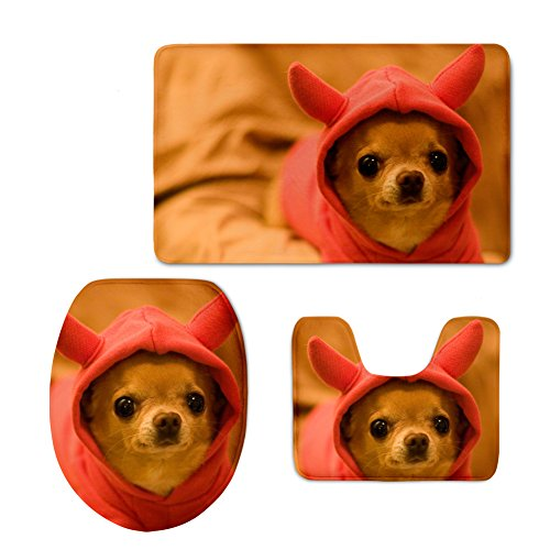 3-tier-eisen (hugsidea niedliche Tiere 3-teiliges Badezimmer Teppich Set Badteppich Contour und WC-Deckelbezug, Flanell, Chihuahua, S)
