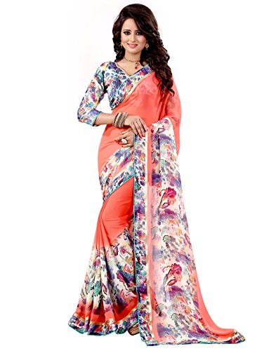 The Fashion Outlets Women's Georgette Lace Work Sarees(Free Size_Orange)