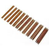 Aucheer Stricknadel Stricknadeln Gestrickte Bambus Nadel Set 11 Größen (55 Stück) 2,0-5,0 mm Handgestrickte Nadel Nadelspiel