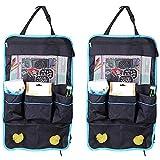 Auto Rückenlehnenschutz Utensilientaschen Organizer - Große Aufbewahrungstasche für Reisezubehör und Spielzeug mit Tablet-Halter für Kinder, Rücksitzbezug, Trittmatten (2-PACKS)