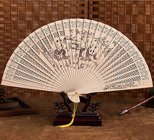 Galy Hohl Folding Fan 24 Klappen Faltfächer Klassisch Chinesischer Stil Sandelholz Handfächer Holz Fächer Für Party Hochzeit Dekor - Klassische Klappe