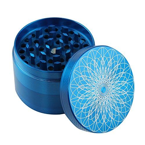 Engshwn Premium Zink-Legierung Herb Spice Tobacco Grinder 55 mm 4 Teile mit schönen Laser-Muster (Blau) Pink Space Case Grinder