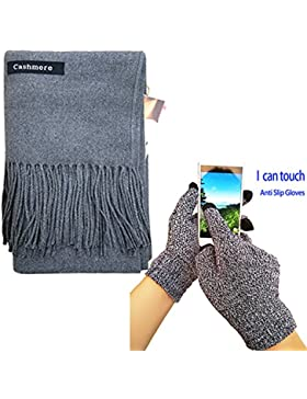iEverest Super suave color sólido bufanda de cachemir para hombres y mujeres, invierno cálido gran grueso bufanda...