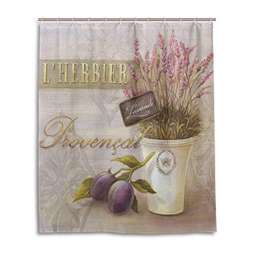 Tenda da doccia 152,4x 182,9cm, arte vintage viola lavanda, a prova di muffa poliestere tessuto bagno tenda