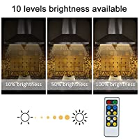 Litake LED Under Cabinet Lights,3 Pack Wireless Remote Control Closet Lights Bar 10-LED Warm White Cupboard Lights Stick on Anywhere Brightness Adjustable LED Puck Lights,Battery Powered Night Lights with Dimmer&Timer Functions,Ceiling Spot Wardrobe Light