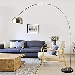 Flos Arco Floor Lamp for Living Room Modern Standing Lamp with Foot Switch,Black Marble Base,Stainless Steel Lamp Pole, Silver Lampshade,E27