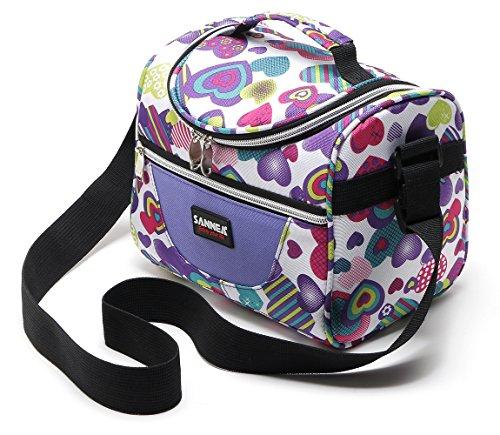 Sanne, borsa termica per il pranzo, borsa grande con cinghia regolabile e chiusura con cerniera, per bambini e adulti purple