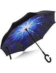Mousika Eyre Parapluie Canne Parapluie Inversé Double Couche Coupe-Vent Mains Libres poignée en forme C Idéal pour Voiture et Voyage de Gouttes de Pluie Idéal pour Voiture Voyage et Shopping