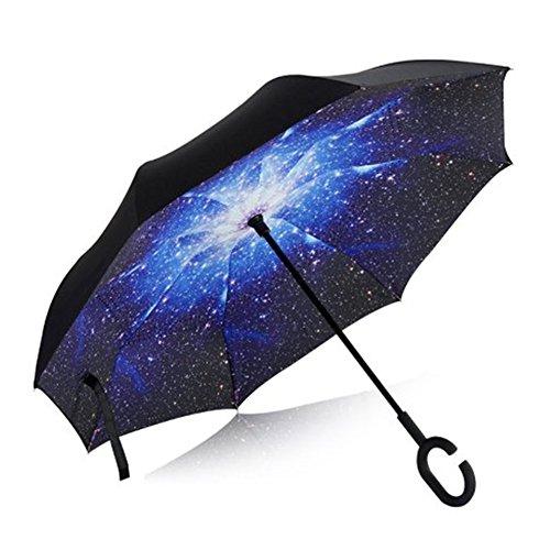 Auto invertito Ombrello, doppio strato antivento Reverse Umbrella per Rain & Sun, mani maniglia libera C-Shape con copertura dell'ombrello (Stella)
