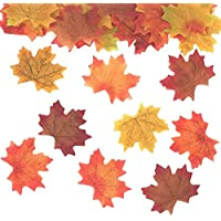 100pcs Artificial Autumn Fall Maple Leaves Autumn Colors - Great Autumn Table Scatters for Fall Weddings & Autumn Parties