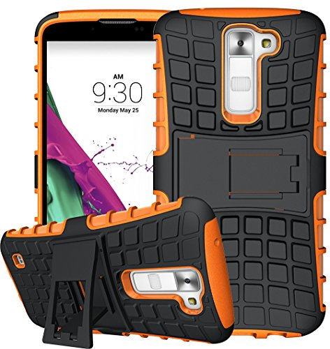 Nnopbeclik 2in1 Dual Layer Coque LG K7 Silicone [New] [Armor Séries] Protectrice Fine Et Élégante Rigide Back Cover Incassable case pour lg k7 case Silicone antichoc [X210] (5.0 Pouce) [Ridige] Protection Hybride en Mélange avec Béquille de Support Intégrée Housse Antiglisse Anti-Scratch Etui - [Orange]