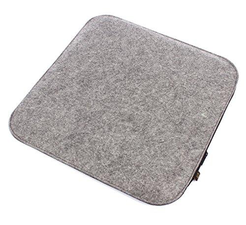 Filz Sitzkissen in graumeliert und dunkelgrau zum Wenden, waschbare Stuhlauflage mit Füllung inkl. Reissverschluss. Moderne Sitzauflage für Bank und Stuhl mit runden Ecken, weich gepolstert. Designer Sitzpolster / Filzauflage, quadratisch ca. 35x35cm groß