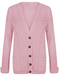 Red Olives New Women s Ladies Long Sleeve Button Top Chunky Aran Cable  Knitted Grandad Cardigan UK a4d9747db
