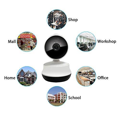 Caméra de sécurité IP, HD WiFi Pan/Tilt Détection de mouvement Alerte IP Caméra de sécurité, Home Système de surveillance Caméra de sécurité IP avec 2 voies Audio de détection de mouvement, support de carte micro SD 64 Go, Notification Push, vision jour/nuit, support iPhone/Android caméscope Enregistreur vidéo Blanc IP Caméra de sécurité