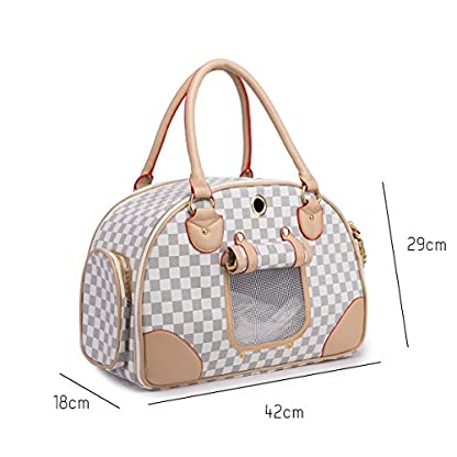 YiHao Pet Travel Carrier Airline Approve Lightweight 1.3 kg Handbags Tote bags for Dogs Cats 8kg Soft PU Leather… 2