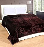 #4: Korean Blanket double bed winter soft Floral Embossed (Coffee color)