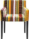 Kare Design Armlehnstuhl Econo Very British, Polsterstuhl, Esszimmerstuhl mit buntem Stoffbezug, Retro Essstuhl aus schwarzem Buchenholz, Rot-Gelb (H/B/T) 79x56x56cm