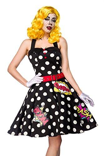 Atixo Pop Art Girl Kostümset - schwarz/weiß/rot, Größe (Kostüm Pop Comic Art Girl)