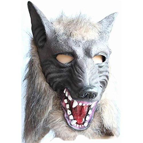 Kingus Halloween Werwolf Kopf Vollmaske Kostüm Kopfbedeckung Wolfskopf Cosplay Zubehör