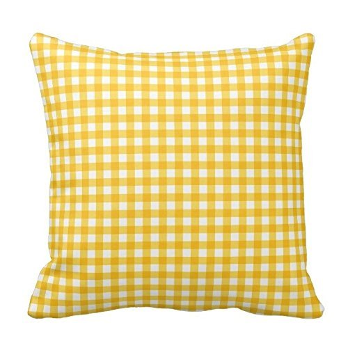 zhengpeng Yellow and White Plaid Gingham Chess Pattern Square Throw Pillow Cover Case Decorative for Sofa 18 x 18 Inch Two Sides