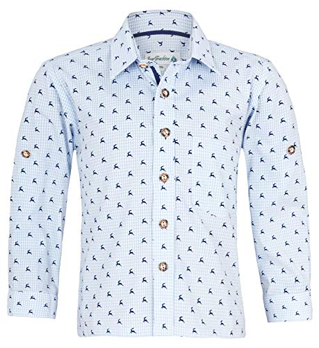 Isar-Trachten Kinder Trachtenhemd Malte mit Hirschen 52913 - Hellblau Gr. 164