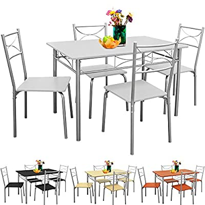 Table and Chairs Dining Set Kitchen 4 Seater White Black Beech Brown Bistro Table Set with 4 Chairs - inexpensive UK light shop.