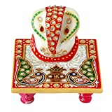 Villcart Marble Ganesha With Chowki 4 In...