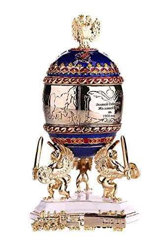 Russische Fabergé-Stil Ei / Schmuckkästchen Transsibirische Express / Eisenbahn mit Doppelköpfiger Adler 12,5 cm blau -