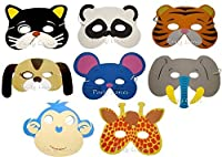 Foam animal masks with elasticated straps in 8 assorted designs., Giraffe, Monkey, Elephant, Mouse, Tiger, Bear, Cat, Dog, etc., Ideal for school plays, fairs and party bags., Each comes in polybag.