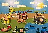 Steckpuzzle Holzspielzeug Safari Mit Hintergrund 5 Teile Made in Germany ab 1 Jahr