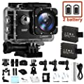 CAMKONG Action Camera Action Cam Sport Camera Waterproof Camera Full HD 1080P Ultra 170° Wide-Angle Lens with Dual 1050mAh Batteries