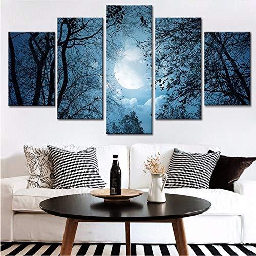 Pmhhc Leinwand Home Decor Bilder Arbeit 5 Stücke Mond Wald Malerei Gedruckt Schatten Der Bäume Landschaft Poster Modulare Wandkunst-10X15Cmx2 10X20Cmx2 10X25Cm
