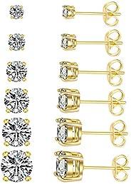 Women's CZ Stud Earrings Simulated Diamond 18K Gold Plated Royal Round Cubic Zirconia Ear Stud Set (6 Pa