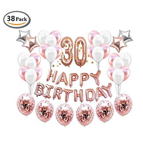 ICheap Konfetti Latex Luftballons Rosegold Weiß, Happy Birthday Ballons, 30th Geburtstag für Baby Shower Girl Adult Geburtstag Party Dekorationen (30th)
