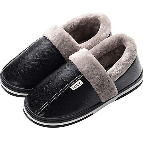 1c71be26ae YMFIE Pantofole Invernali in Cotone da Uomo e da Donna, Calde e Calde, in  Felpa di Cotone Imbottito Impermeabile Antiscivolo