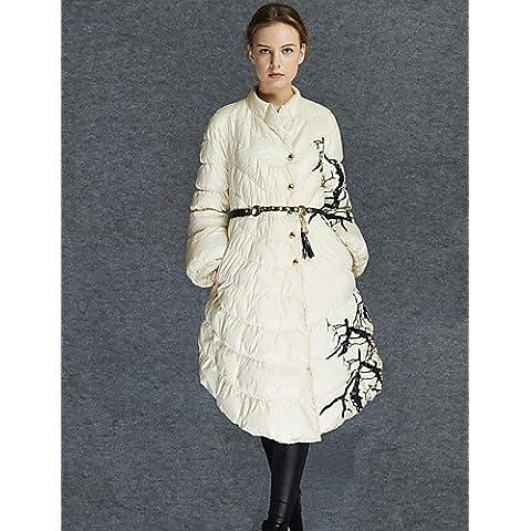 Lungo Piumino Da donna,Cappotto Semplice Casual Fantasia floreale Cotone Polipropilene Manica lunga Rotonda Bianco , white-s ,