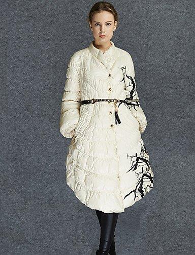 Lungo Piumino Da donna,Cappotto Semplice Casual Fantasia floreale Cotone Polipropilene Manica lunga Rotonda Bianco , white-m ,
