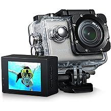 VicTsing 4K WIFI Resistente al Agua Cámara Acción Deportiva, 1080P Vídeo y 20MP Imagen, RSC Anti-Vibración, Bajo Agua hasta 30m, 170º Gran Ángulo de Lente, LCD Pantalla de 2 Pulgadas y Kit de Accesorios, Sensor de Sony IMX117 Exmor R CMOS como Gopro Heros 3, perfecto para Nadar, Ciclismo, Correr, Actividades al Aire Libres,Deportes Acuáticas, Extremos o Recreativos, etc.