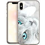 OOH!COLOR Bumper Compatible pour iPhone XS, Coque iPhone X Transparente Silicone Motif Souple Etui Soft Case Ultra Slim Fine Cover Chat aux Yeux Bleus Emballage JETABLE