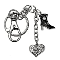 Acosta - Crystal Heart Cowboy Boot - Bag Charm / Keyring
