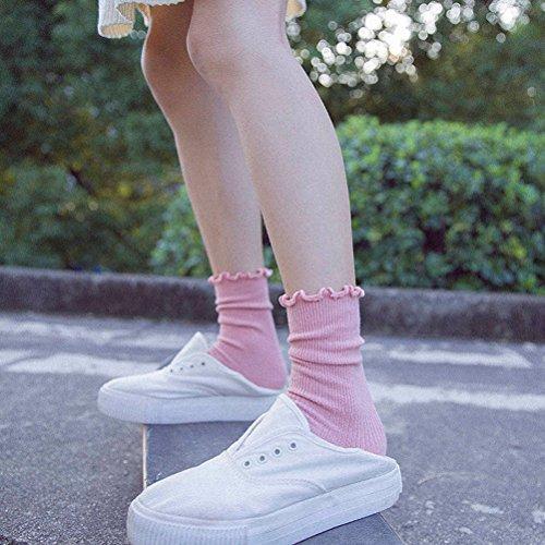 LUOEM Slouch Socken Stricksocken für Damen Mädchen Füße von 35-38 Größen (Rosa) - 4