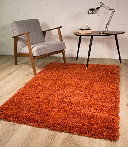 The Rug House Terracota Shaggy Alfombra 5 tamaños Disponibles 110 CMX160 CM 3ft7 x 5 ft3