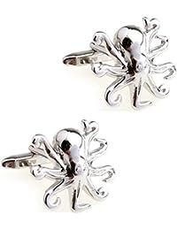 CIFIDET Gemelos de Plata para Hombre, con diseño de Pulpo de Difiidet, con Caja