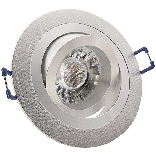 8er Set (3-8er Sets) Einbaustrahler NOBLE 2 Aluminium; 230V; COB LED 3W = 40W; Neutral-Weiß; schwenkbar; drehbar; Einbauleuchte Einbauspot Downlight
