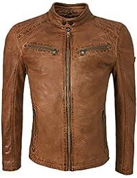 Laura Zanello Herren Lederjacke Bikerjacke Cognac Braun Stehkragen  Brusttaschen Regular Fit Gr. 50-58 2cdcb18fcb