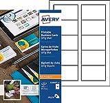 Avery 250 Cartes de Visite à Bords Microperforées 185g - 85x54mm - Impression Laser, Jet d'Encre, Copieur - Mat (C32010)