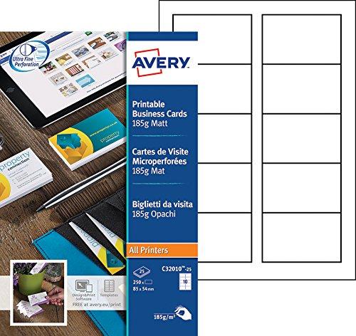Avery - C32010-25 - 250 cartes de visite micro perforées 185 g/m² pour imprimantes jet d'encre, laser monochrome, copieur - 85 x 54 mm