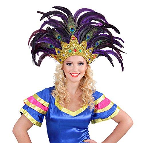 Amakando Federkopfschmuck Rio Samba-Kopfschmuck Gold, lila brasilienisches Kostüm Accesoire Sambatänzerin Zubehör Showgirl Outfit Karneval in Rio (Rio Showgirl Kostüm)